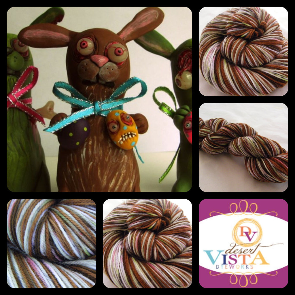 Solid Chocolate ZomBunny Four Stripe Self Striping Yarn