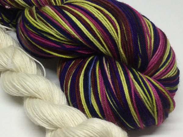 C'Mon Get Happy Six Stripe Self Striping Yarn with Mini Skein