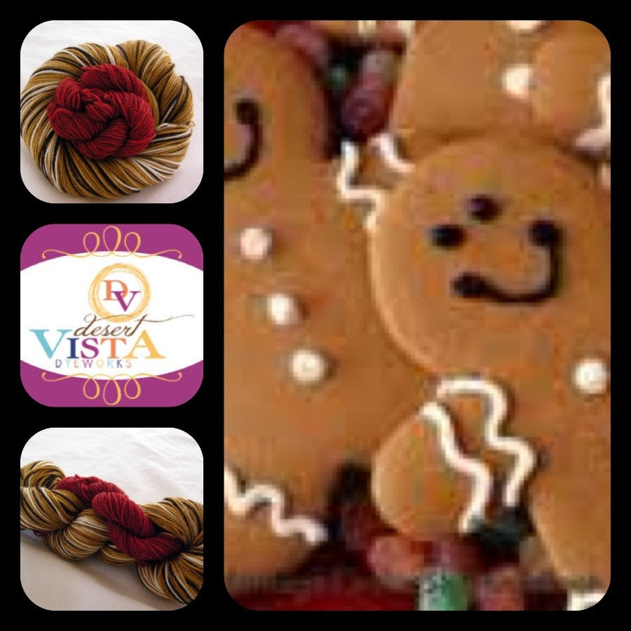 Gingerbread People Four Stripe Self Striping with Mini Skein