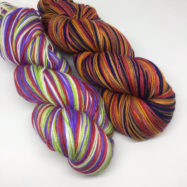 Woody and Buzz Half Skeins Four Stripe Self Striping Yarn