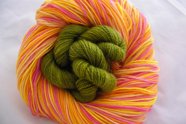 Fresh Cut Flowers Four Stripe Self Striping Yarn plus Mini Skein