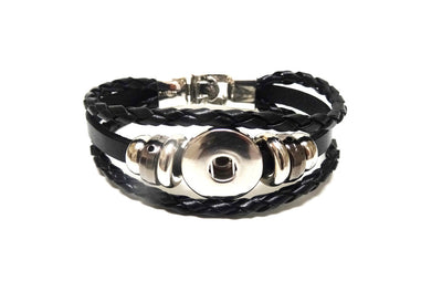 Snap Three Strap Leather Bracelet Black