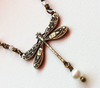 Delicate Vintage Style Brass Dragonfly Necklace