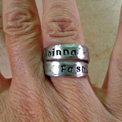Dinna Fash - Don't Worry - Hand Stamped Ring