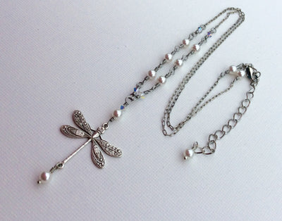 Delicate Vintage Style Silver Dragonfly Necklace