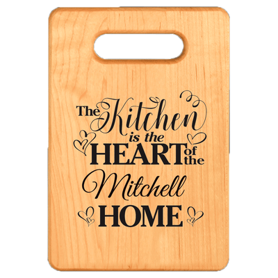 Kitchen is the Heart of the Home Personalized Maple Cutting Board