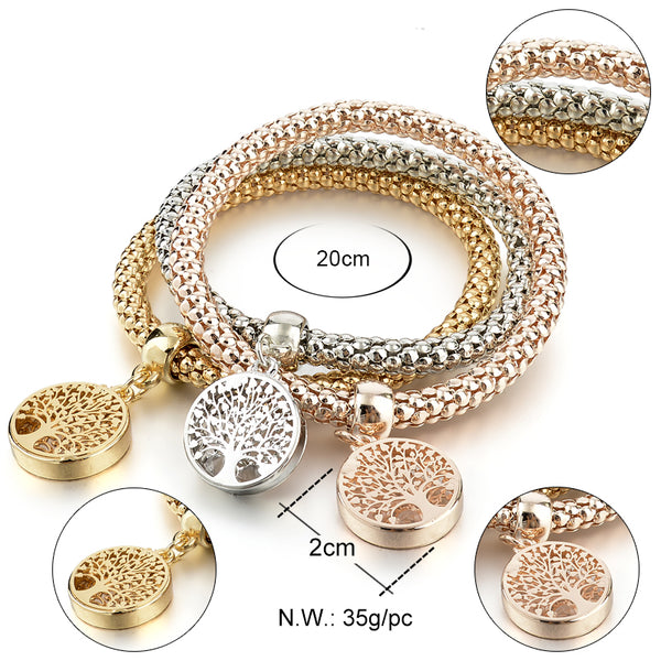 Tree Of Life Silver Gold Charm Bracelet With Austrian
