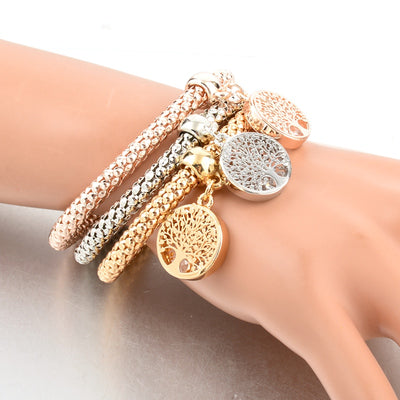 Tree of Life Silver Gold Charm Bracelet with Austrian Crystals