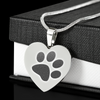 Engraved Paw Print Pet Memorial Necklace