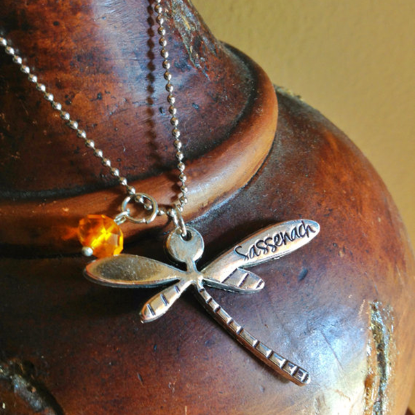 "Hand Stamped ""Sassenach"" Dragonfly Necklace"