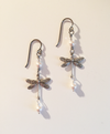 Delicate Silver Vintage Dragonfly Earrings with Pearls