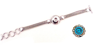 Single Silver Rope Toggle Snap Bracelet