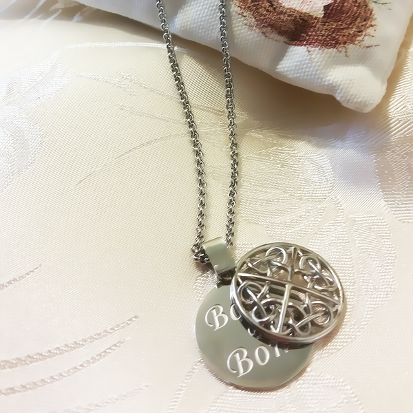 Bone of My Bone Celtic Coin Pendant Necklace