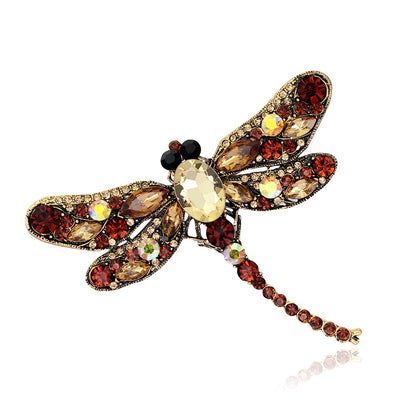 Crystal Rhinestone Dragonfly Brooch for Women