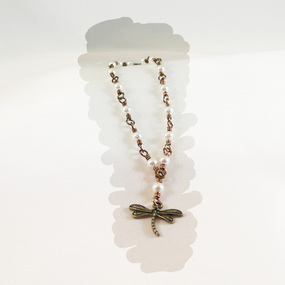 Dragonfly Bracelet with Pearls