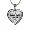 Mother Daughter Son I Love You Mom Stainless Steel Pendant Necklace