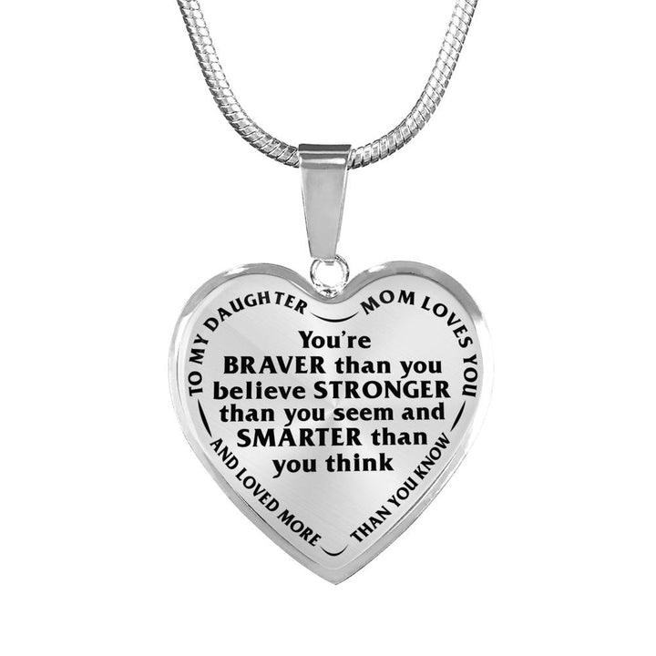 Daughter Mom Loves You More Than You Know Stainless Steel Necklace