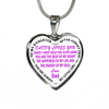 Daddy Loves You Always My Little Girl Purple Stainless Steel Pendant Necklace