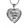 Daddy's Little Girl Stainless Steel Black Pendant Necklace