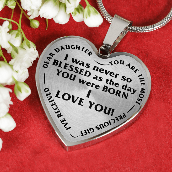 Dear Daughter I Love You Blessed Day Stainless Steel Pendant Necklace
