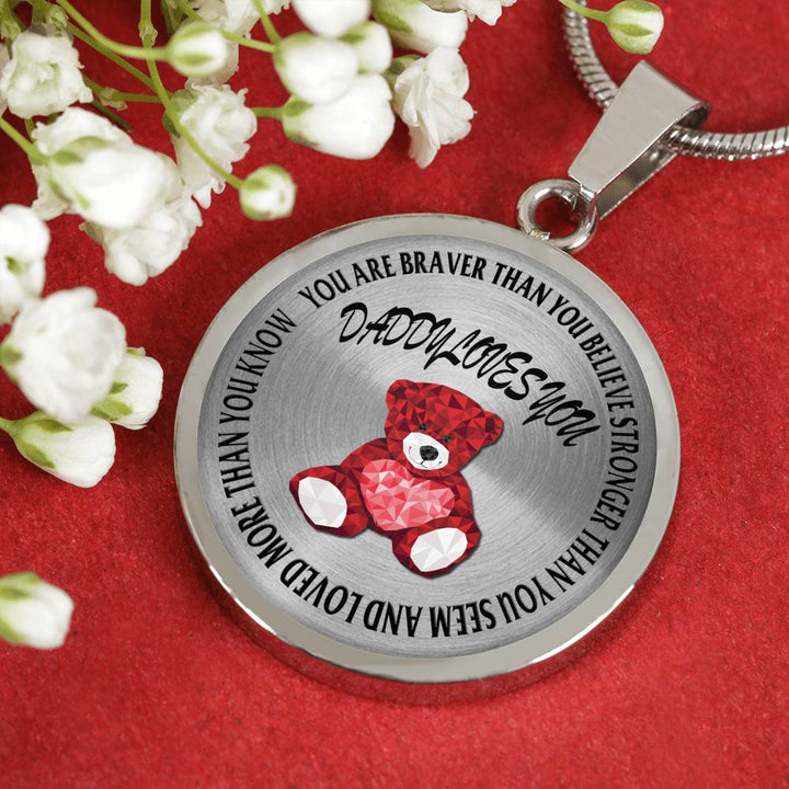 Daddy Loves You Teddy Bear Stainless Steel Necklace
