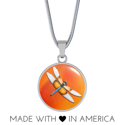 Dragonfly Amber Colored Resin Pendant