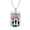I Am a Veteran Stainless Steel Dog Tag Pendant Necklace