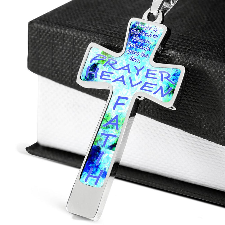 Faith Opens the Door Stainless Steel Cross Necklace