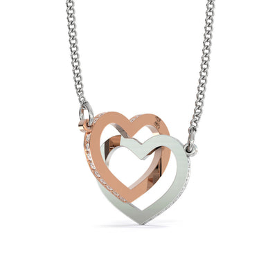 Never Forget That I Love You Dad Daughter Interlocking Hearts Necklace