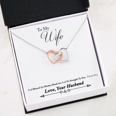God Blessed the Broken Road Husband Wife Interlocking Hearts Necklace