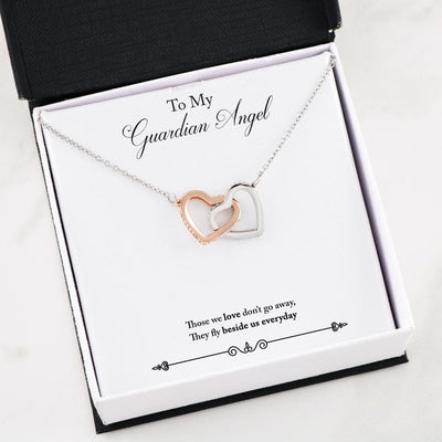 Remembrance Guardian Angel Interlocking Hearts Necklace