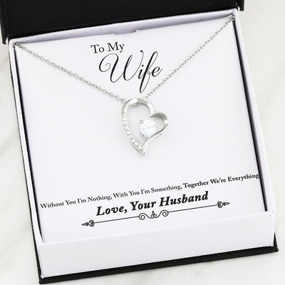 Together We're Everything Husband Wife Gold or Silver Heart Necklace