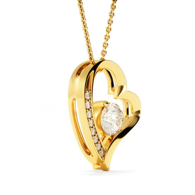 Always Heart to Heart Husband Wife Gold or Silver Heart Necklace