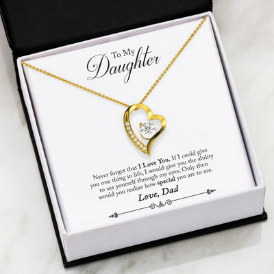 See Yourself Through My Eyes Daughter Dad Gold or Silver Heart Necklace