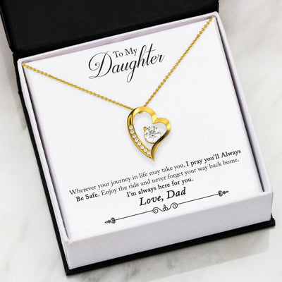 Always Be Safe I'll Always Be Here Daughter Dad Silver or Gold Heart Necklace
