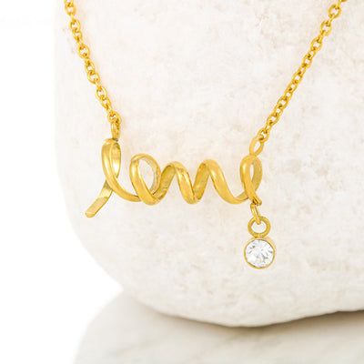 Lovely Mom Love Necklace with Message Gold or Silver