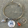 Engraved Sassenach Bracelet with Cabin in the Woods Celtic Tree of Life and Strawberry Charms