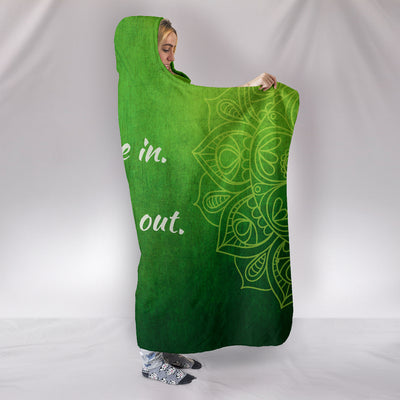 Breathe In Breathe Out Green Grass Hooded Blanket Throw ll