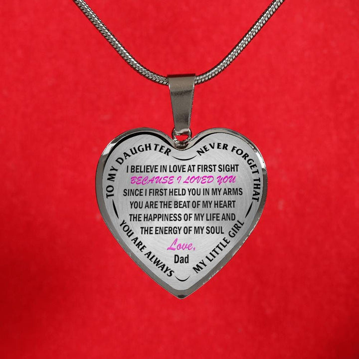 To My Daughter My Little Girl Dad Stainless Steel Pendant Necklace