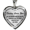 To My Daughter Daddy Loves You Stainless Steel Pendant Necklace