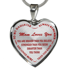 To My Daughter Mom Loves You Red Stainless Steel Pendant Necklace