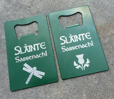 Sassenach Personalized Bottle Opener, Slainte Engraved Credit Card Wallet Bottle Opener