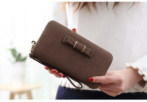 Leather Zipper Clutch Long Wallet Fits Phone