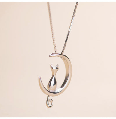 Sweet Vintage Cat in the Moon Pendant