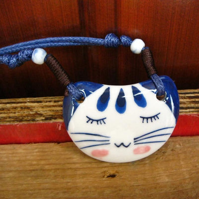 Cute Blue Smiling Cat Ceramic Necklace