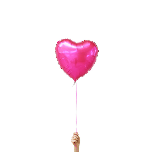 bright pink heart foil balloon