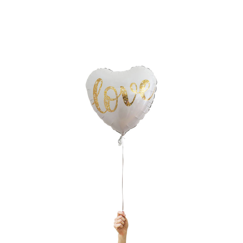 gold love heart foil balloons