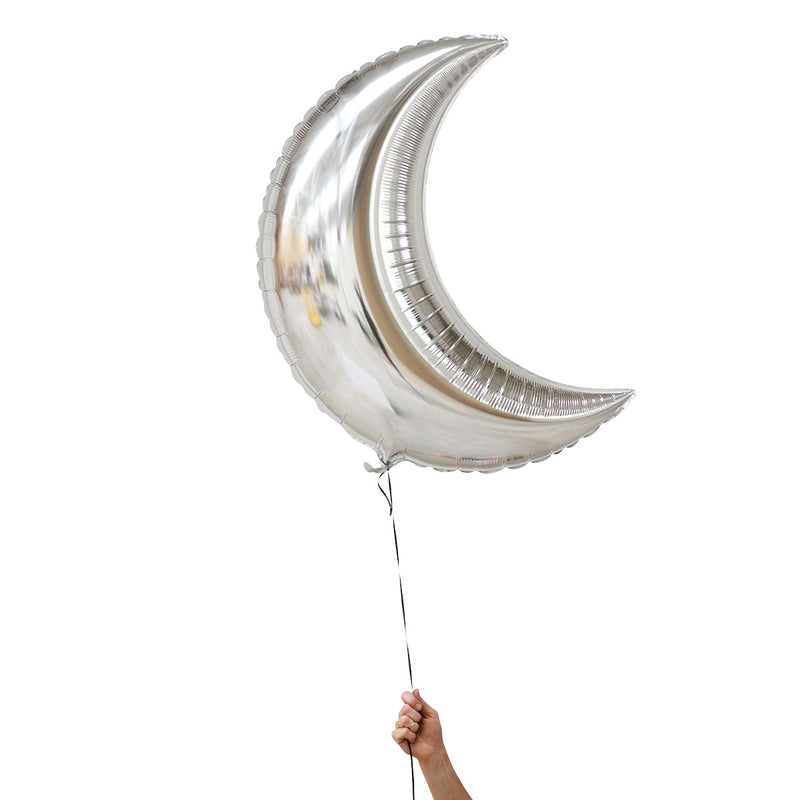 silver crescent moon foil balloons