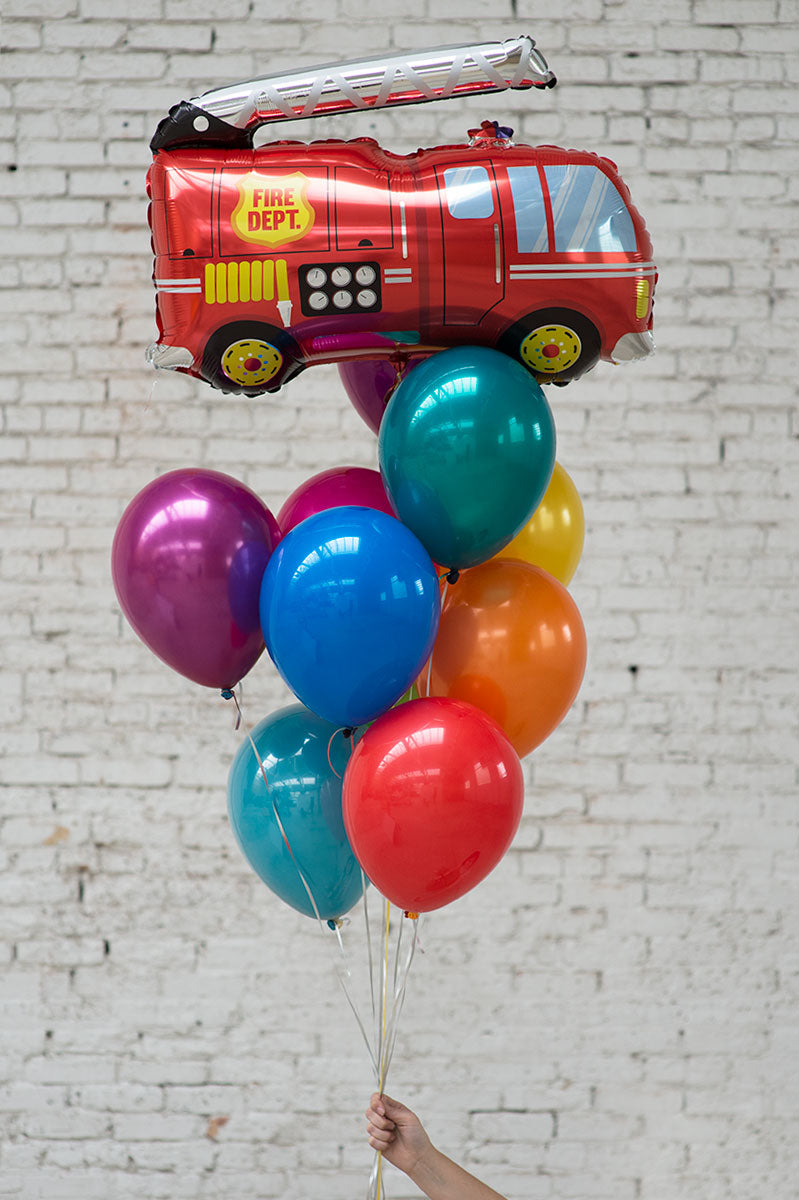 firetruck foil balloon bouquet