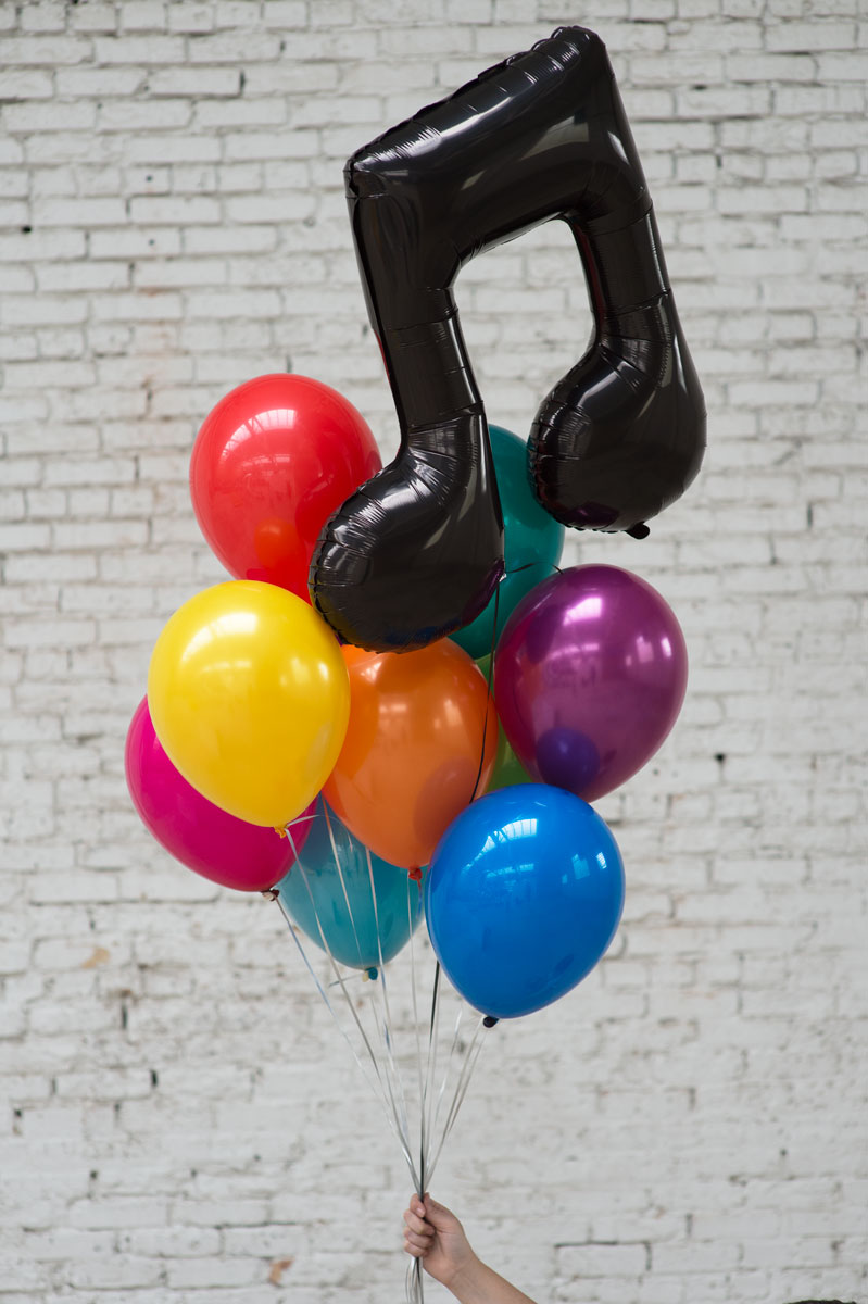 music note foil balloon bouquet